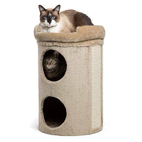 Modern Kitty Penthouse Cat Tower in Winston, Taupe, One Size (Penthouse Accent)