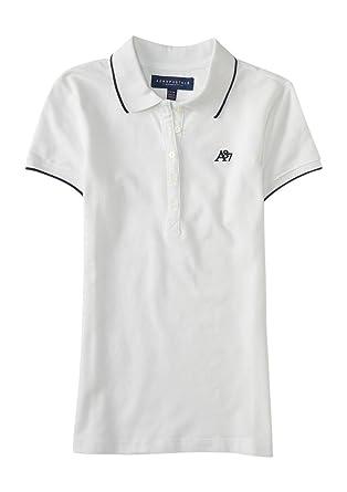 34291959cb0a Aeropostale Women s A87 Solid Single-Tipped Piqu Polo Shirt - White ...