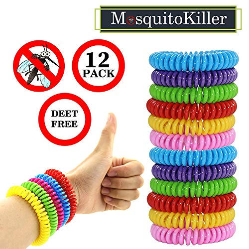 12 Pack Mosquito Bracelet, Eco-Friendly, Waterproof, up to 360Hrs Protection Outdoor and Indoor, for Adults and Kids