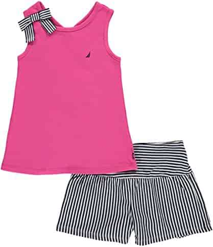 Nautica Girls' Top with Back Detail and Fashion Knit Short Set