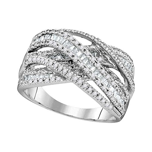 10kt White Gold Womens Round Baguette Diamond Crossover Fashion Band Ring 1.00 Cttw - Baguette Diamond Crossover