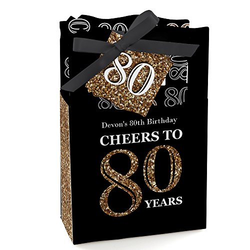 80th Birthday Party Favors (Custom Adult 80th Birthday - Gold - Personalized Birthday Party Favor Boxes - Set of 12)