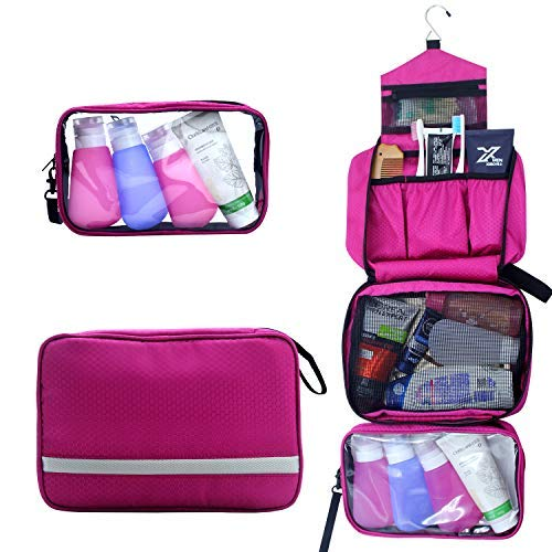 Toiletry Bag,Hanging Toiletry Bag With Detachable TSA Approved Portable Clear PVC Pouch Waterproof Multifunction Travel Toiletry Bag for Men Women Hot Pink