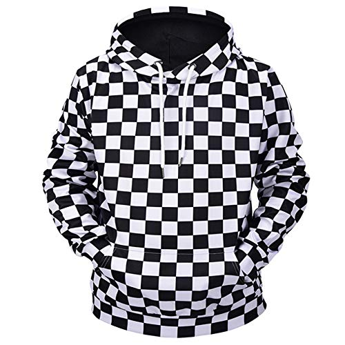 18cb94000fb6 QMKJ Mens Hoodie Unisex Black and White Squares 3D Prints Pullover Jumpers  Breathable Regular Patterned Sweatshirts