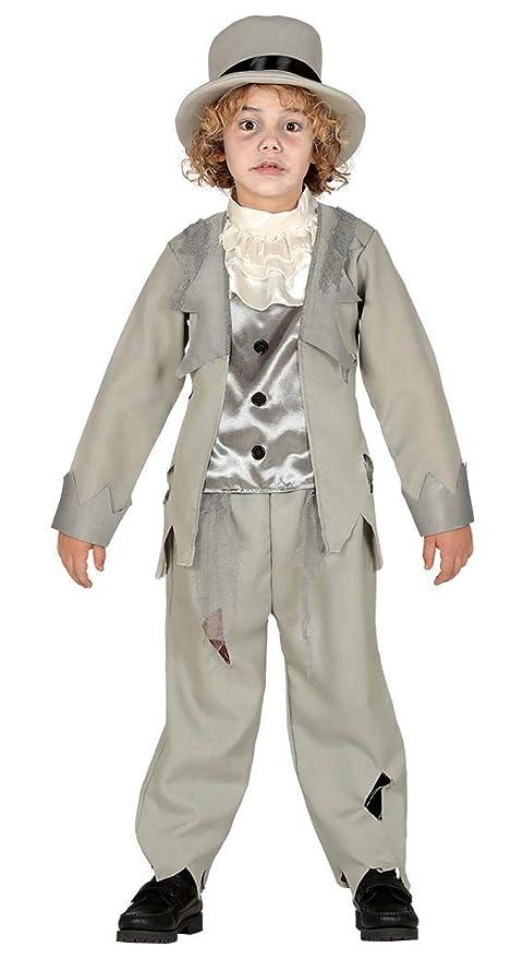 Rudy Disfraz Fantasma Elegante Niño 10/12 años, Color Gris, de 10 A 12, 87755