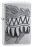 Zippo Fire Breathing Dragon Emblem Brushed Chrome Pocket Lighter