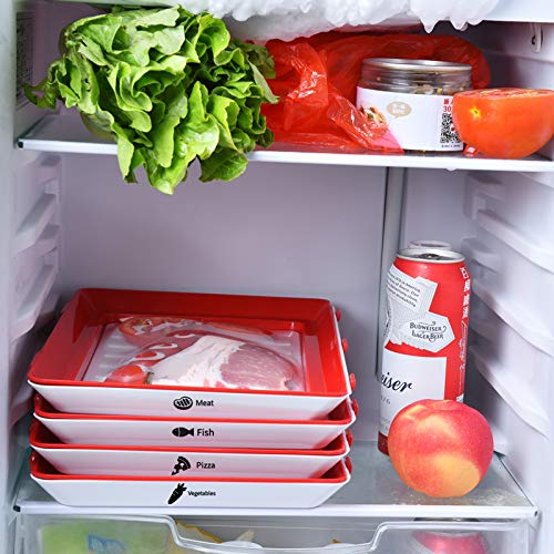 Food Tray Stackable Creative Food Preservation Tray Reusable Durable Superior for Keeping Food Fresh Dishwasher Freezer Safe (4 pcs Trays and 32 pcs Food label)