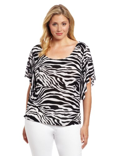 Star Vixen Women's Plus-Size Angel Sleeve Top, Zebra Print, 2X (Print Tops Zebra)