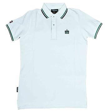 09ef23bdb Admiral AD2013 Men's Polo Shirt Pique Cotton (White/Green/Navy), White
