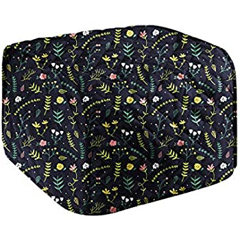 4 Slice Toaster Appliance Cover,Cotton Quilted Kitchen Universal Size Microwave Toaster Oven Cover,Dust and Fingerprint Protection,Broiler Appliance Organizer Bag Bakeware CoverCYFC815 (Black Flowers)