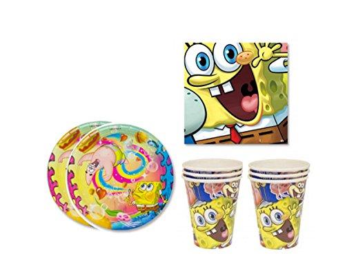Sponge Bob Birthday Party Supplies Set Plates Napkins Cups Kit for 16