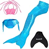 SAIANKE Girl's Sparkle Mermaid Tails Swimmable Swimwear Sets with Monofin