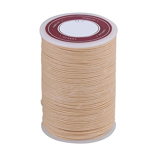 BQLZR 0.7mm Dia 70m Length Beige Polyester Round Waxed Cord Wax String Linen Stitching Thread for Leather Craft Sewing DIY Jewelry Making (Waxed Linen Thread Cord 5)