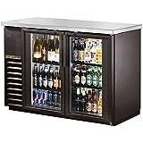 True Black 2-Swing Glass Door Back Bar Cooler for 82 6-Packs