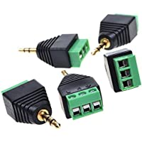 Diageng 5pcs 3.5mm (1/8inches) Stereo Audio Male to AV 3-Screw Terminal Female Connector