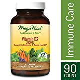 MegaFood – Vitamin D3 2000 IU, Support for Immune Health, Bone Strength, Hormone Production with Organic Herbs and Food, Vegetarian, Gluten-Free, Non-GMO, 90 Tablets (FFP)