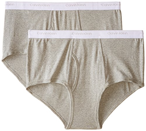 Calvin Klein Men's Big and Tall Cotton Classics 2 Pack Briefs, Grey Heather, 44