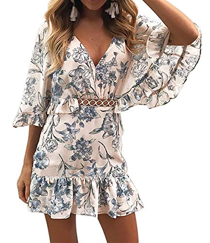 BTFBM Women Fashion Floral Print V Neck Hollow Out High Waist Ruffle Boho Flowy Short Dress (Blue, X-Large) (Flowy Spring Dresses For Women)