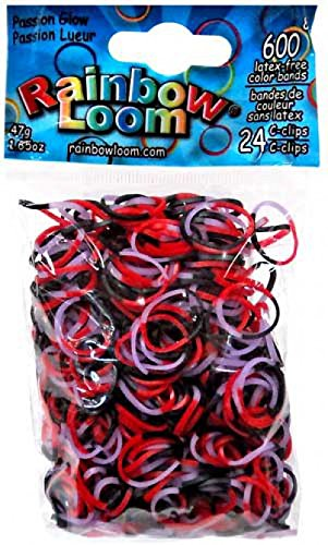 Official Rainbow Loom 600 Ct. Rubber Band Refill Pack Passion Glow {Halloween Glow Series} [Includes 24 C-Clips!] -
