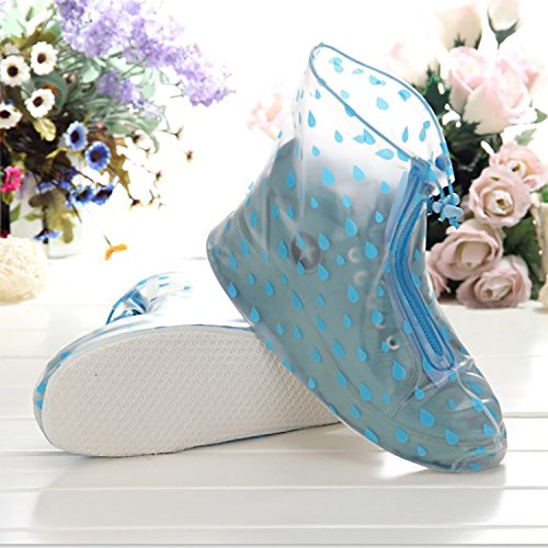 UniEco Waterproof Shoe Covers Rain Shoe Covers Zippered Shoes Blue Raindrops Style for Women M