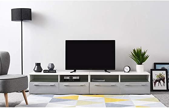 Ruication - Mueble de TV LED de 200 cm con luz RGB LED, Mueble Moderno Blanco Mate
