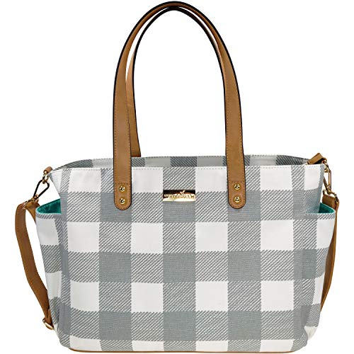 White Stripe Tote - The Aquila (New Edition) Tote Bag by White Elm | Gray, Black or Navy Blue Stripes/Gray or Black Buffalo Check (Gray Buffalo Check)