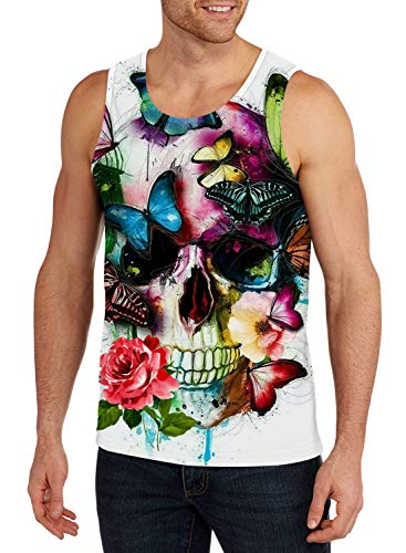 Belovecol Mens Summer Cool Butterfly Skull Tank Tops Novelty 3D Graphic Tee Casual Sports Sleeveless T Shirts