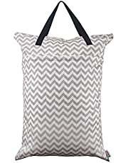ALVABABY Large Wet Dry Bag,Waterproof Hanging Cloth Diaper with Double Zippered Pockets (25x18 inches) HL-S33