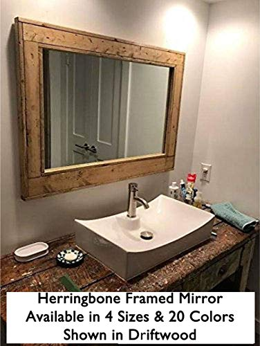Herringbone Reclaimed Wood Framed Mirror, Available in 4 Sizes and 20 Stain colors: Shown in Driftwood - Bathroom Vanity Mirror - Rustic Bathroom Decor - Wall Mirror