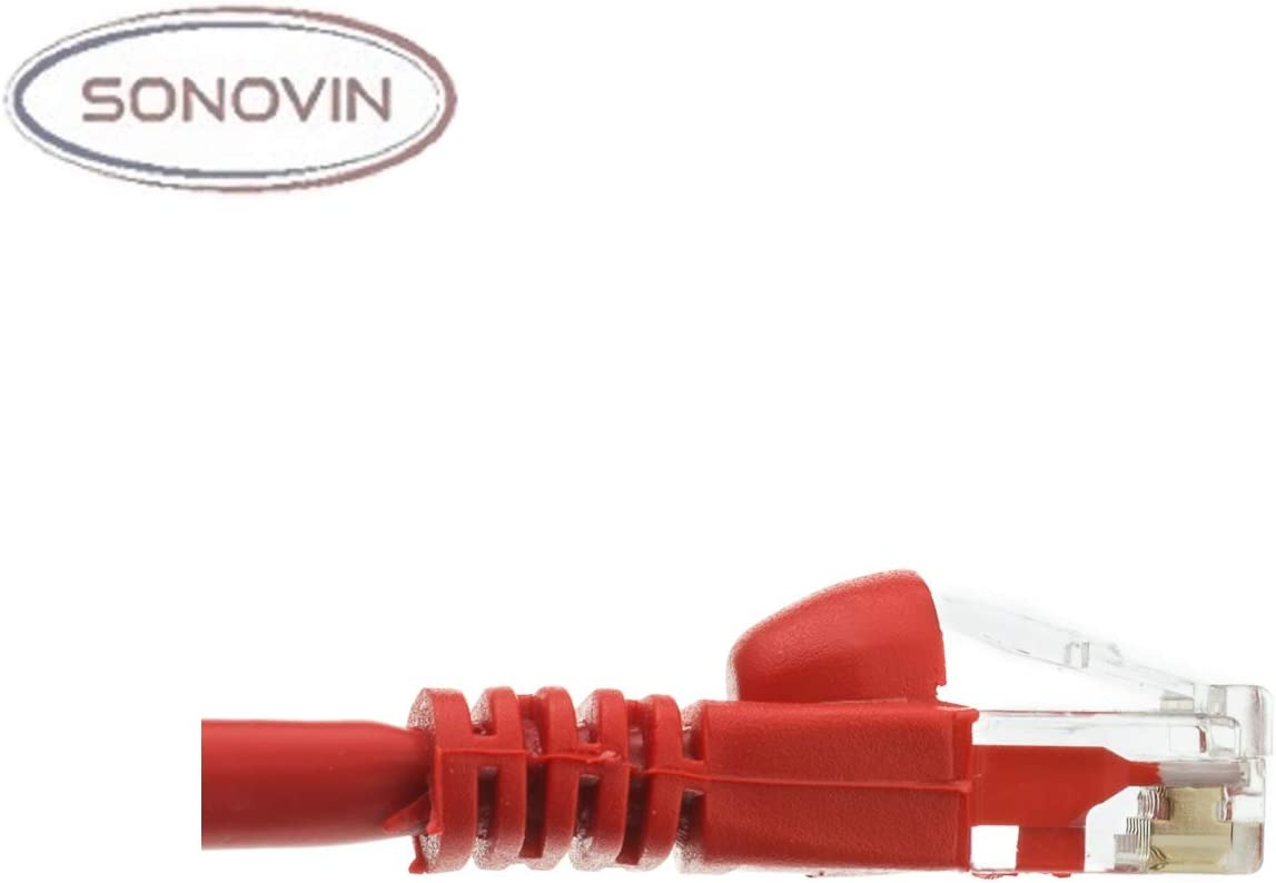 Sonovin 10 Foot Color:Red Cat6 Red Ethernet Patch Cable Snagless//Molded Boot