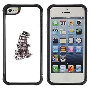 "Hypernova Defender Series TPU protection Cas Case Coque pour Apple iPhone SE / iPhone 5 / iPhone 5S [Barco Piratas de tinta blanca Negro Limpiar""]"