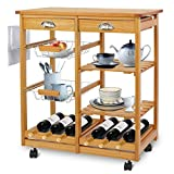 bakers rack with wine storage SUPER DEAL Multi-Purpose Wood Rolling Kitchen Island Trolley w/Drawer Shelves Basket