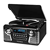 Victrola 50's Retro Record Player with Bluetooth and CD, Black