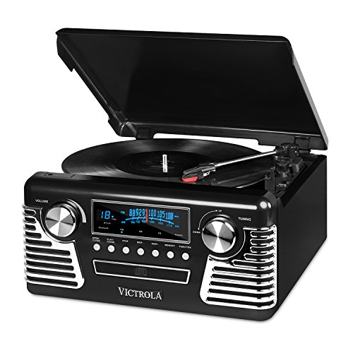 (Victrola 50's Retro 3-Speed Bluetooth Turntable with Stereo, CD Player and Speakers, Black )