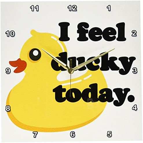 3dRose dpp_163771_2 I Feel Ducky Today. Rubber Duck-Wall Clock, 13 by 13-Inch
