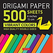"Origami Paper 500 sheets Vibrant Colors 6"" (15 cm): Tuttle Origami Paper: High-Quality Origami Sheets Printed with 12 Different Colors: Instructions for 8 Projects Included"