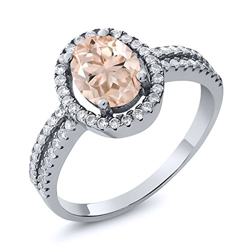 Gem Stone King 1.76 Ct Oval Peach Morganite 925 Sterling Silver Women s Ring Available 5,6,7,8,9