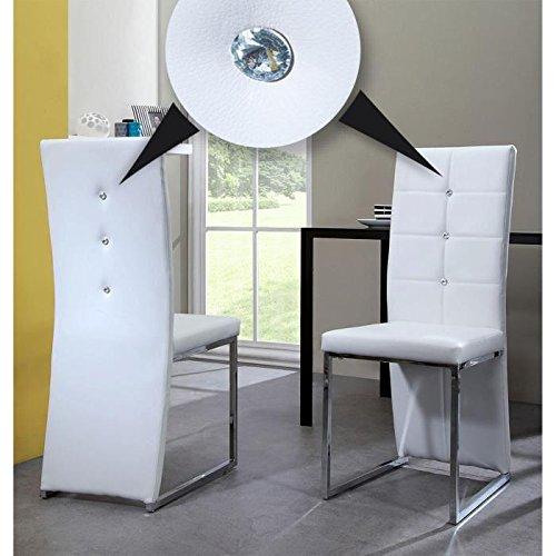 BLING lot de 2 chaises de salle a manger blanches Design Strass
