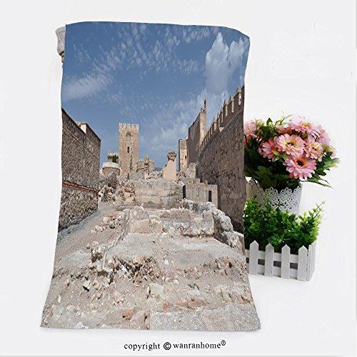 Almeria Collection (VROSELV Cotton Microfiber Bathroom Bath Towel-alcazaba fortress in almeria Custom pattern of household products(9.8