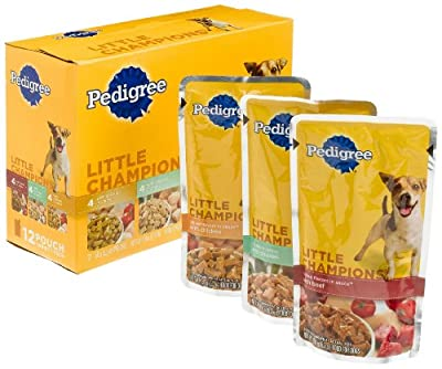 PEDIGREE LITTLE CHAMPIONS GRILLED FLAVORS IN SAUCE Variety Pack- 12 ct. (With Beef in Sauce, With Chicken in Gravy and With Chicken in Sauce) Wet Food for Small Dogs, 5.3-Ounce Pouches (Pack Of 4)