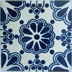 6 x 6 4 pcs azul ramo mexicano de talavera tile amazon for Oficina zona azul talavera