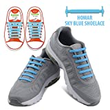 Homar No Tie Elastic Shoelaces for Kids- Best in Sports Fan Shoelaces - Rubber Flat Shoe Laces Perfect for Sneaker Boots Oxford Running Sport Shoes - Sky Blue