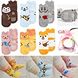 Yshare® 5 Pairs 18-36 Month Cartoon Anti Slip Skid Crew Ankle Baby Socks + Gift Bangle With bag Cute Animal Toddler Infant Socks Length 4.73-7 inches