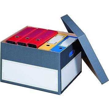 Archivbox Archivschachteln mit Deckel und Tragegriffen 414 x 331 x 266 mm anthrazit Karton f/ür Ordner 10 St/ück