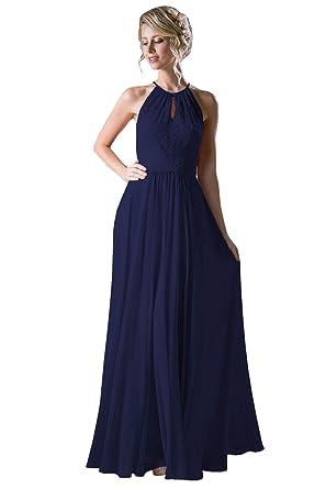 b45ae301f03 Women s Elegant Halter Bridesmaid Dress Lace Chiffon Long Wedding Guest  Dress Navy Blue