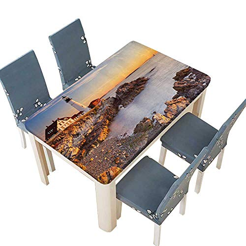 PINAFORE Polyester Tablecloth Cape Elizabeth Maine River Portland LightSunrise Coast Scenery Spillproof Tablecloth W25.5 x L65 INCH (Elastic Edge)
