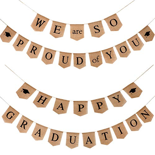 2 Pieces Graduation Burlap Banner - Happy Graduation Banner and We Are So Proud of You Banner for 2019 Graduation Party Supplies