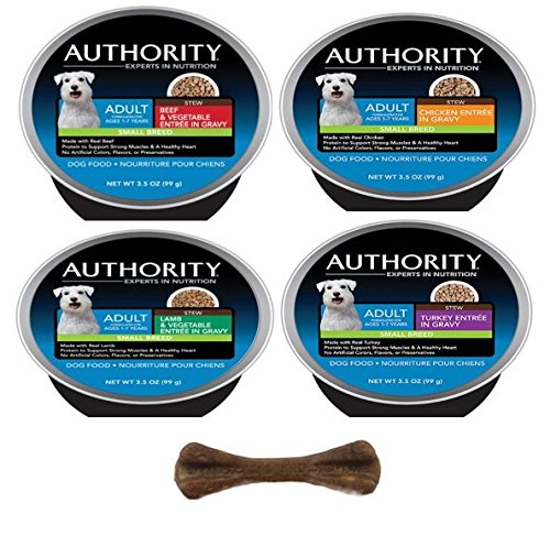 Authority Small Breed Wet Dog Food - 4 Flavor Variety Bundle - 3.5 Ounces Each - Pack of 8 - Plus Natural Dental Bone (9 Items Total)