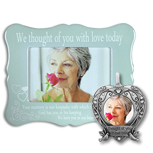 Memorial Picture Frame and Photo Ornament Set - I Thought of You with Love Today Poem - Condolence Gifts - In Loving Memory Gift Set