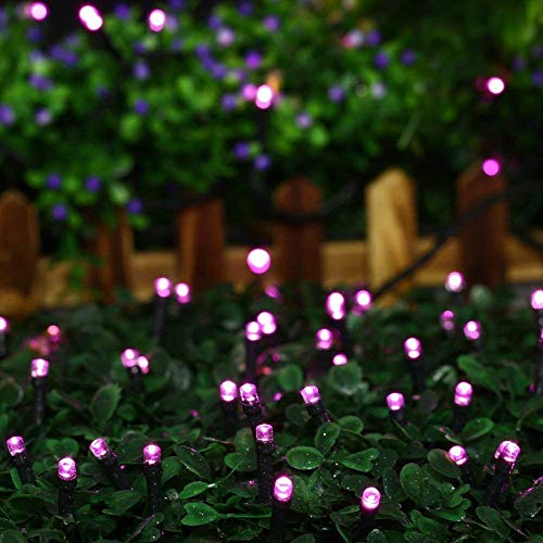 (Joomer Solar Christmas Lights, 39ft 100 LED Waterproof Solar String Lights Fairy Lights for Outdoor, Home, Christmas Tree, Garden, Wedding, Patio, Party, Holiday Decorations(Pink))